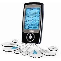 MATEHOM Électrostimulateur TENS Anti-Douleur et électrostimulation Musculaire EMS - rééducation, soulagement des douleurs, Massages, Soins de kinésithérapie - 16 programmes de Massage + 8 électrodes