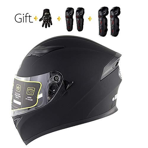 MMRLY Professioneller Erwachsener modularer Motorradhelm-Flipreisehelm Anti-Fog-Doppelspiegel/Offroad-Helm mit Handschuhen und Schutzausrüstung,XXL