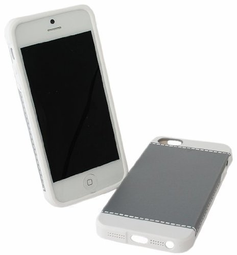 Avcibase 4260310645124 Design Naht Harte Schutzhülle für Apple iPhone 5/5G grau/weiß
