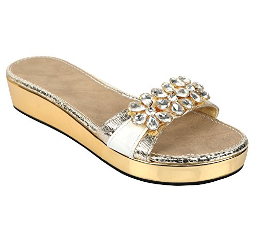 New branded designer Slip on Platforms for women in premium Big Diamond work hadmade with lovely Diamonds on gold crush footwear s royal stylish & comfortable flats  available at amazon for Rs.1599