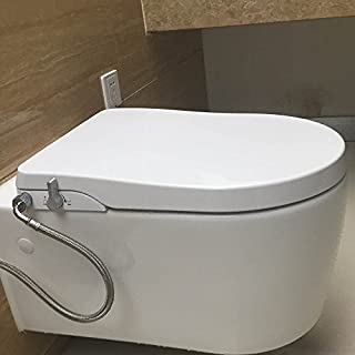 Hibbent Non Electric Bidet Toilet Seats - No Electricity Bathroom Bidet Seats with Dual Nozzles Sprayer for Bidets and Rear Washing - European Style U-Shaped(D-Shaped) - OB104
