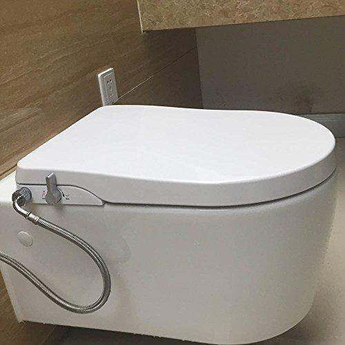 Copriwater bidet hibbent tavoletta sedile copri wc con bidet non elettrico chiusura soft con doccetta doppio erogatore per lavaggio intimo posteriore e femminile (forma sedile wc a d) ob104 - bianco