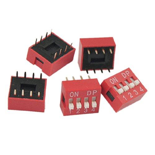 n Goldton Platte Kontakte Red Slide Type DIP-Schalter (Weiß Und Gold-kunststoff-platten)