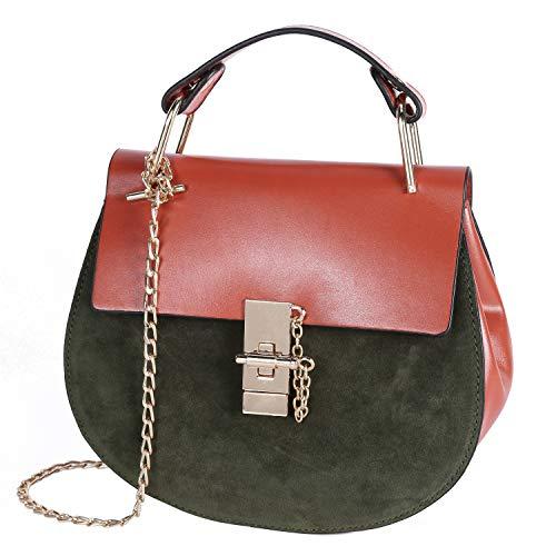 Damen Umhängetasche Kleine Schultertasche Kette Tasche Clutch Mini Handtasche Vintage Citytasche für Hochzeit Party Disko - Braun-Grün
