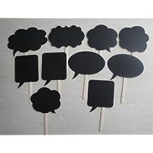Musuntas® 10 Tlg.Hochzeits Partido Photobooth suministra boda fotos ideas de la boda de bricolaje accesorios de cartón negro enviadas