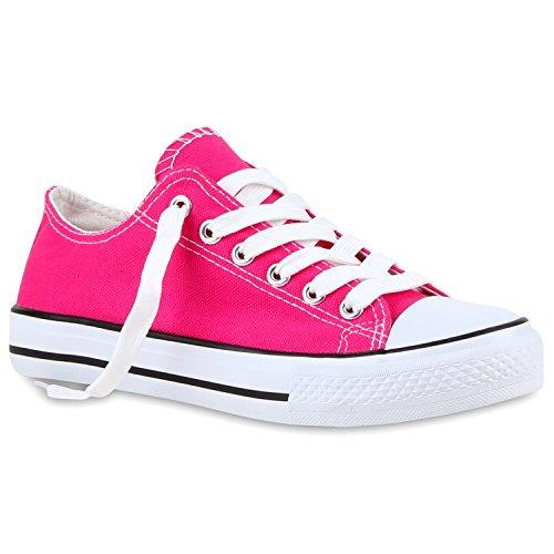 Sportliche Damen Sneakers Metallic Schnürer Sneaker Low Spitze Turn Blumen Denim Stoff Flats Schuhe 118960 Pink 37 Flandell