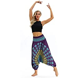 ITISME Jeanshosen Femmes Sexy Mode Yoga DéContracté D'éTé LâChe Baggy Boho Aladdin Combinaison Sarouel Pantalon