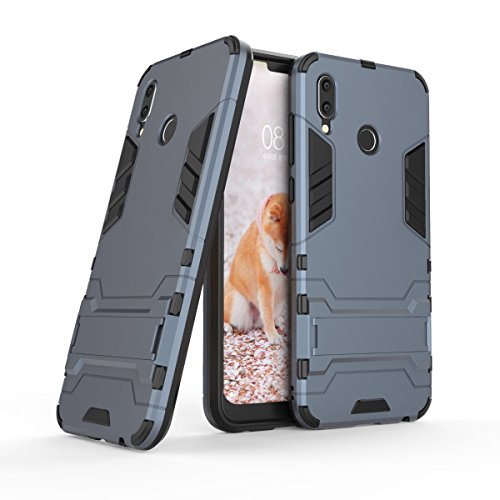 HDRUN Huawei Honor Play Hülle, 2 In1 Kratzfeste Handyhülle Hybrid TPU Silikon Bumper Schale PC Doppelschichter Schutzhülle mit Standfunktion für Huawei Honor Play Case Cover, Dunkelblau