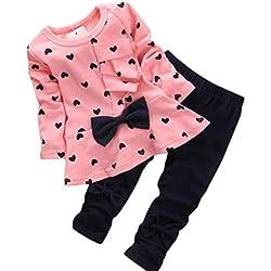 Conjuntos de bebé,Internet en forma de corazón impresión arco lindo 2PCS camiseta + pantalones (100(6-12meses), Rosado)