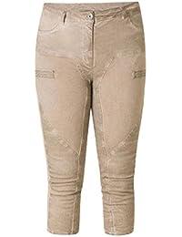 Yesta Stretch Damen Vintage Jeans in 3 4 Länge Große Größen Sand-Braun Slim f9c4941d69