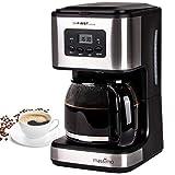 TZS First Austria - Kaffeemschine mit Timer, Filter-kaffeemaschine, 12 Tassen, Permanentfilter, Warmhalteplatte, Tropfstopp, Brühpause-Funktion, schwarz, Edelstahl, programmierbar