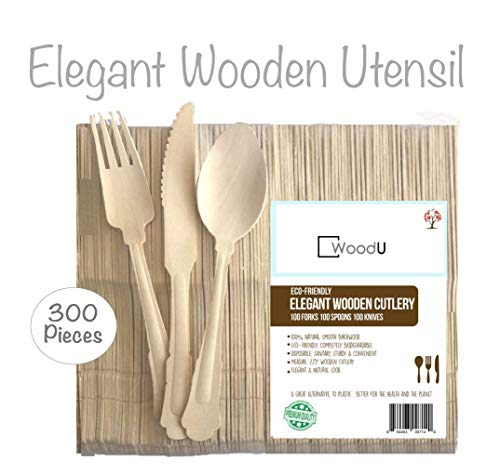 WoodU Elegant Disposable Wooden Utensils Cutlery Set, Eco-Friendly Biodegradable Compostable Flatware, For Your Special Event, Party, Wedding, 300Pc, 100 Forks, 100 Spoons, 100 Knives