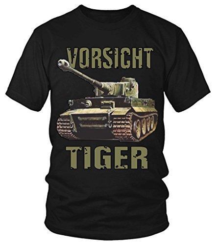 Vorsicht Tiger Panzer T- Shirt Herrentag V1 Arme Bundeswehr Soldat Geschichte Schwarz