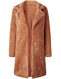 Serface Damen Fleecejacke Warm Lange Plüschjacke Winter Teddy Jacke Mantel  Outwear Fleecemantel (S-3XL db913805b3