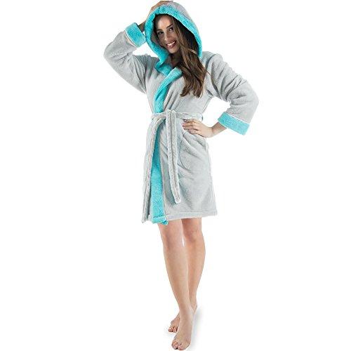 Trendiger Bademantel für Damen | aus flauschig weichem Sherpa-Fleece mit Kapuze | kurzer stilsicherer Schnitt für Wellness und Spa | CelinaTex 5000678 Serie Kos | M grau türkis
