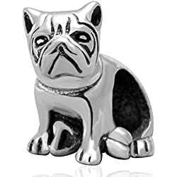 Cuenta para pulsera de Plata de ley Animal carlino