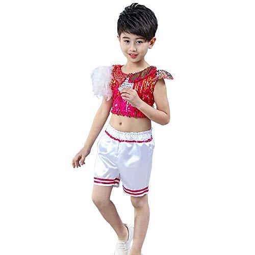 HUO FEI NIAO Mädchen Sequins Jazz Dance Performance Kostüm (Farbe : Rot, größe : Boy-130cm) (Ballett Boy Kostüm)
