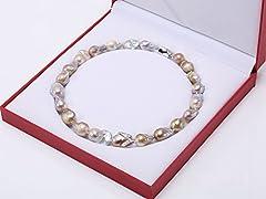 Idea Regalo - JYX 12 × Collana di Perle 16,5-13,5 × 25 mm Lavanda Barocco Edison