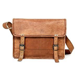13″handgefertigte echtes Leder Messenger Laptop Tasche Aktentasche, reine rustikale langlebige Handarbeit Leder Tasche