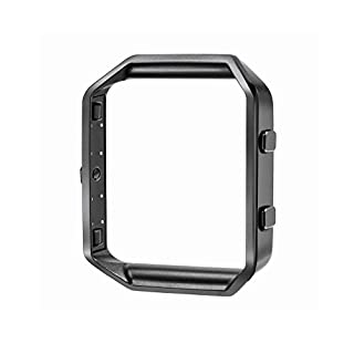 Stainless Steel Frame Metal Clasp for Fitbit Blaze Tracker Smart Watch 23mm, Black