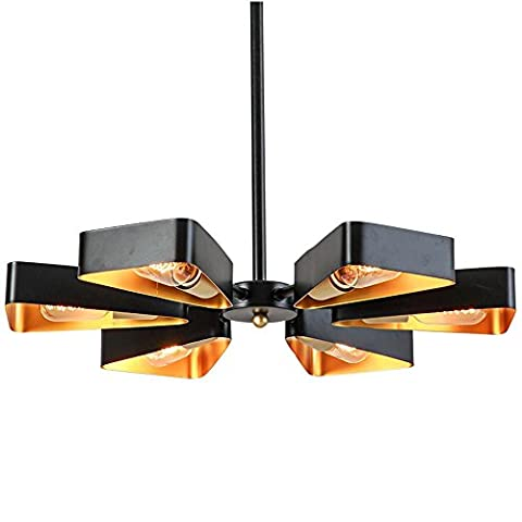 Retro Industry Six Head Of Black Pendant Lamp Ceiling Lamp