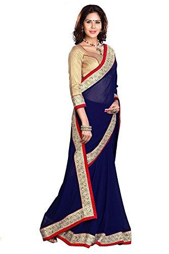 Kjp Villa Women\'s Georgette Blue Free Size embroidery Saree With Blouse Pics (zeel saree-200)