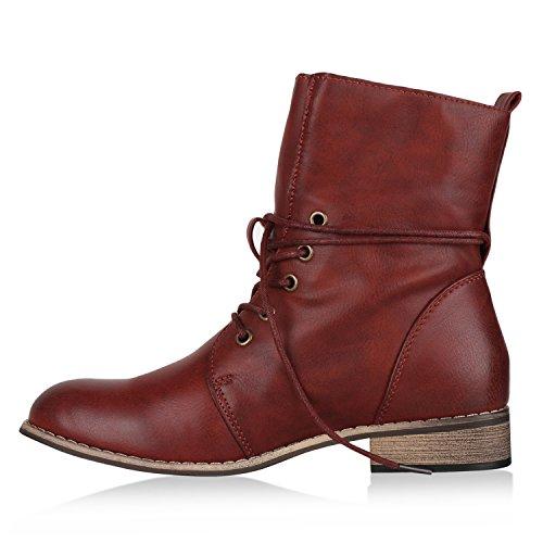 Damen Stiefeletten Worker Boots Leder-Optik Schnürstiefeletten Stiefel Camouflage Booties Blockabsatz Spitze Gr. 36 - 42 Flandell Dunkelrot