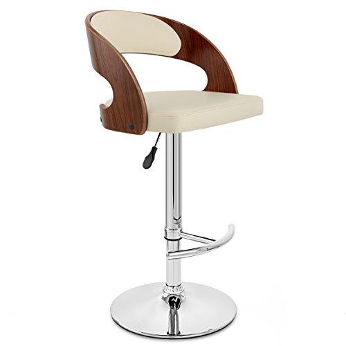 Moderner Barhocker-Stuhl-hoher Schemel Stab-Schemel-Weinlese-Bar-Stuhl PU-Sitz-justierbarer Schwenker-Gasheber, justierbare Höhe 58-80cm Chromunterseite max. Laden Sie 200 kg für den Kitchen Bar Count