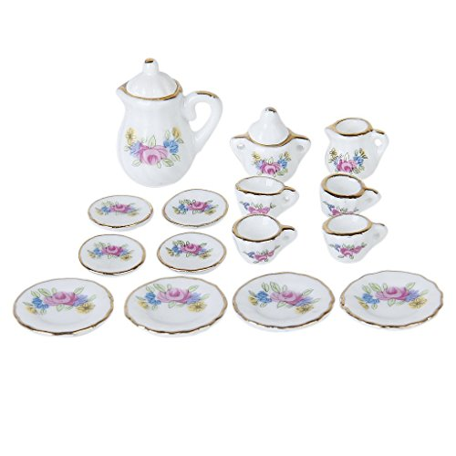 Dcolor 15 pcs Maison de poupee Miniature Salle Arts de la Table a The en Porcelaine Plat Vaisselle Tasse w / Motif de Fleur