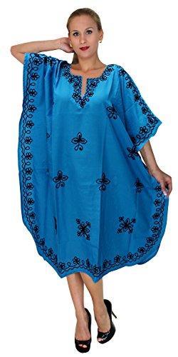 LA LEELA Frauen Damen Rayon Kaftan Tunika Bestickt Kimono freie Größe kurz Midi Party Kleid für Loungewear Urlaub Nachtwäsche Strand jeden Tag Kleider Blau_C744 -