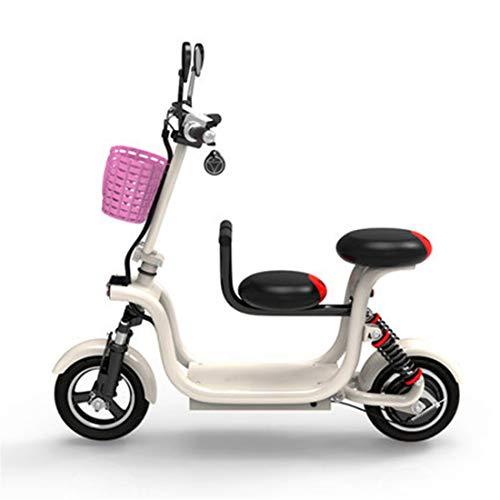 Creing Elektrischer Roller E-Scooter Faltbarer Power Scooter Mit Sitz Elektroroller StraßEnzulassung Cityroller 37Km/h,White