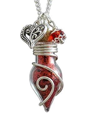 Glücksbringer Phiole der Rosenfee Damen Frauen Mädchen Amulett Talisman Anhänger an Kette mit Feenstaub rot Herz...