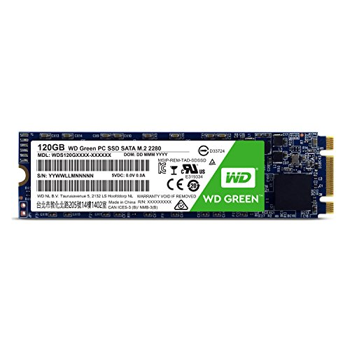 WD Green PC SSD - Disco duro sólido de 120 GB (Serial ATA III, SLC, M.2, FCC, UL, TUV, KC, BSMI, VCCI)