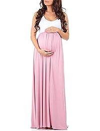 Abito di maternità Maxi Abito di Moda Incinta Donna Grazioso Abito A Fascia  Alta Estivo Abito 096de316e90