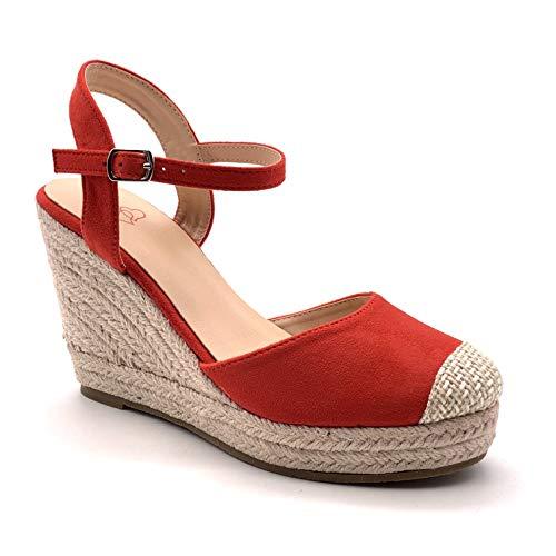 5354dce6aa Angkorly - Chaussure Mode Sandale Espadrille Bohème Casual Romantique Femme  lanières avec de la Paille tressé Talon compensé Plateforme 9.5 CM - Rouge  - F05 ...