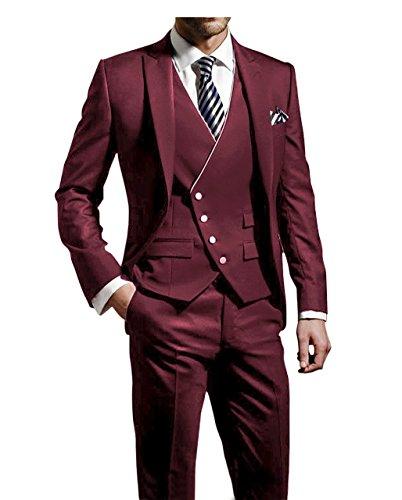 Suit Me Herren 3-Teilig Anzug Slim Fit Hochzeiten Party Smoking Anzuege Sakko,Weste,Hose Rot 2XL