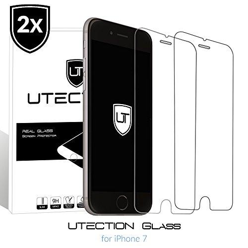 Preisvergleich Produktbild 2x iPhone 7 Panzerglas Schutzfolie 9H ** Kein Zerkratzen ** Blasenfreies Anbringen ** Perfekte Passgenauigkeit ** Glasfolie by UTECTION® Durchsichtig