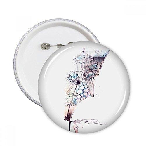 DIYthinker Barock Architektur Building Aquarellzeichnung rund Pins Badge Button Kleidung Dekoration Geschenk 5X, mehrfarbig, Größe S