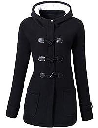 Murieo Femmes en Plein Air à Capuche Corne en Cuir Boucle Solide Manteau Outwear Chaude Veste d'hiver