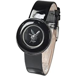 Playboy PB0270BK Watch with Black Ceramic Look and Patent Leather Strap