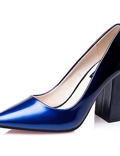 WSS 2016 Chaussures Femme-Décontracté-Bleu / Violet / Bordeaux / Corail-Gros Talon-Talons-Talons-Laine synthétique blue-us8 / eu39 / uk6 / cn39