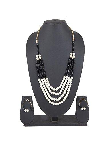 INAYA Da donna Tradizionale Nero & bianca Set collana , Pietra Studded gioielleria