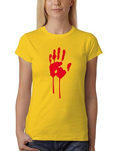 clothinx Damen T-Shirt Fit Halloween Bluthand Gelb Größe - Walking Dead Girl Kostüm