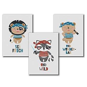 Piraten Poster Kinder, Tierbilder Kinderbilder Kinderzimmer, Bilder maritim Poster - A4 Deko Set - ohne Bilderrahmen