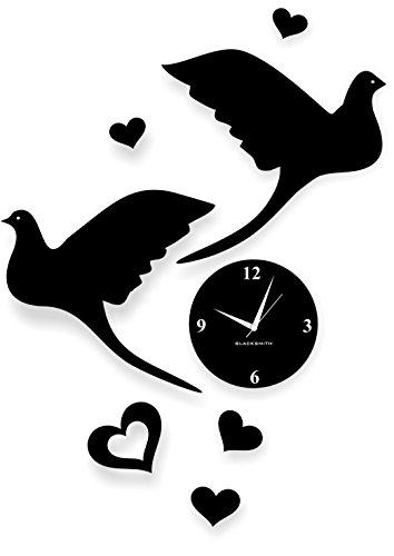 Blacksmith Aluminum Bird Love Wall Clock (Black)