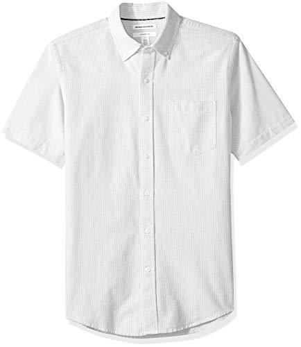 Amazon Essentials Slim-Fit Short-Sleeve Stripe Pocket Oxford Shirt Freizeithemd, Grau (Grey Gre), US S (EU S) -