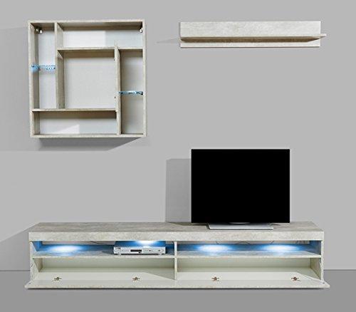 Wohnwand Anbauwand mit Lowboard 3-teilig 543687 betonfarben - 3