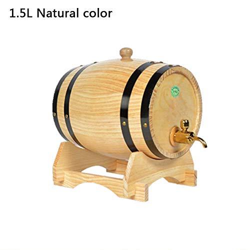 dewdropy Barril De Vino De Roble Pino para Barriles De Cerveza De Cubo De Almacenamiento De Brandy, Whisky, Tequila Especial De 1.5L Y 3L