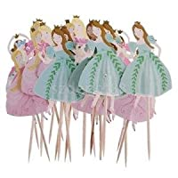 Alcoa Prime 24PCS Assorted Dancing Princess Cupcake Picks Cake Toppers Party Decoration