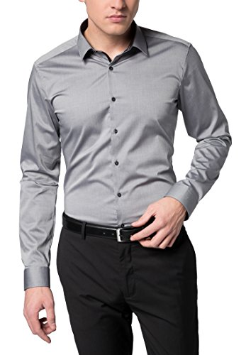 Eterna long sleeve Shirt SUPER-SLIM Stretch uni Grigio